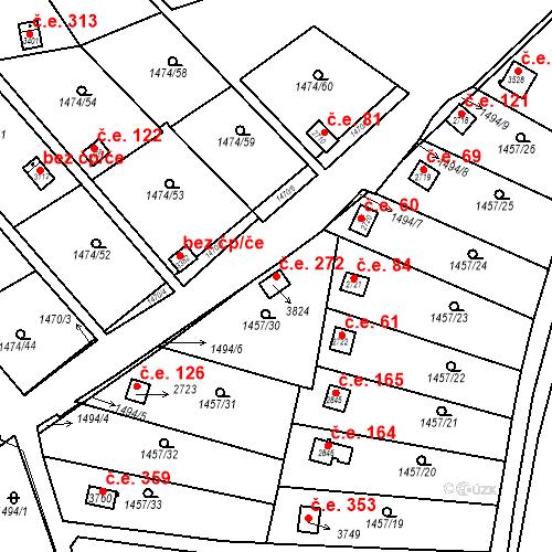 Katastrální mapa Stavební objekt Slaný 272, Slaný