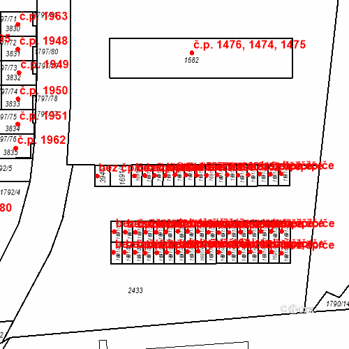 Katastrální mapa Stavební objekt Slaný 156, Slaný