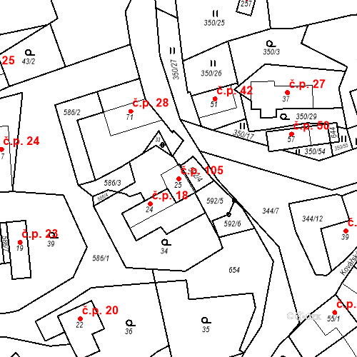 Katastrální mapa Stavební objekt Srbsko 105, Srbsko