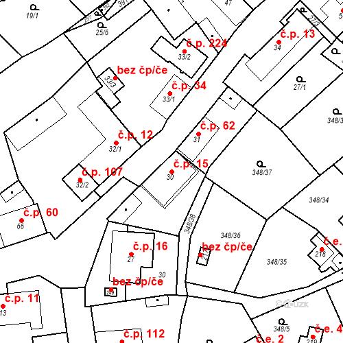 Katastrální mapa Stavební objekt Srbsko 15, Srbsko