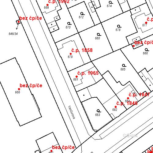Katastrální mapa Stavební objekt Kladno 1965, Kladno