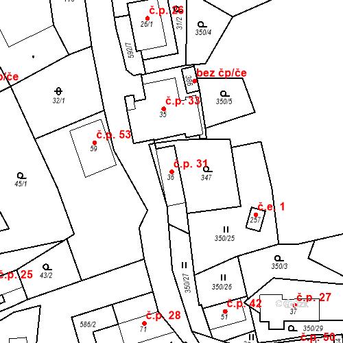 Katastrální mapa Stavební objekt Srbsko 31, Srbsko