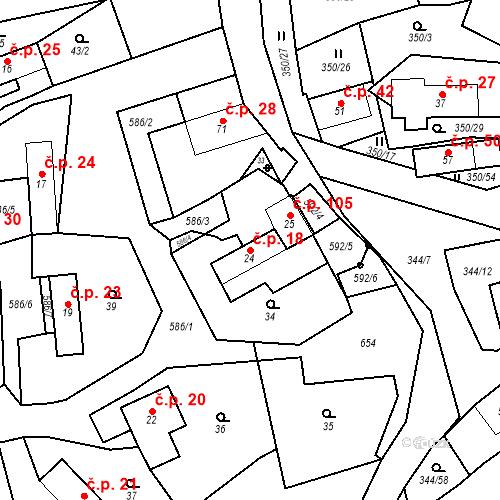 Katastrální mapa Stavební objekt Srbsko 18, Srbsko