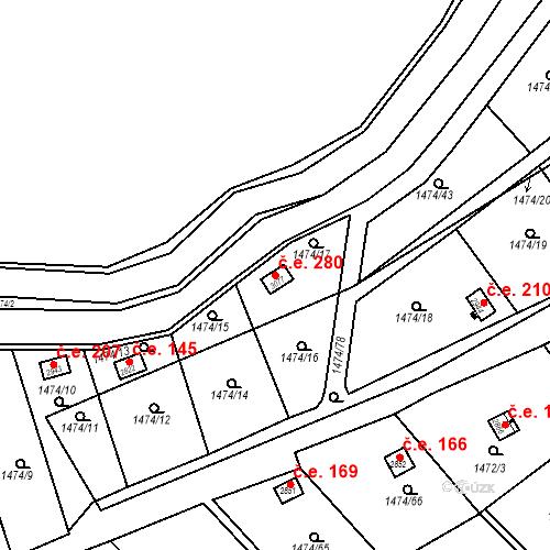 Katastrální mapa Stavební objekt Slaný 280, Slaný
