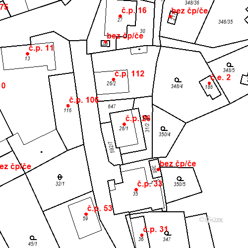 Katastrální mapa Stavební objekt Srbsko 26, Srbsko