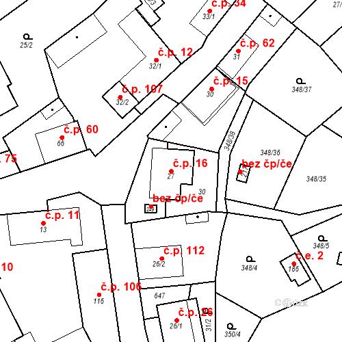 Katastrální mapa Stavební objekt Srbsko 16, Srbsko