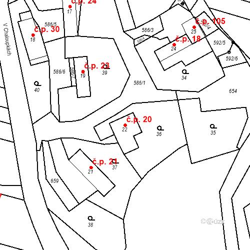 Katastrální mapa Stavební objekt Srbsko 20, Srbsko