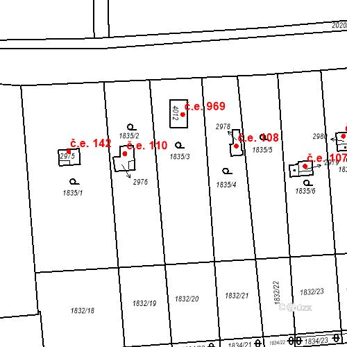 Katastrální mapa Stavební objekt Slaný 109, Slaný