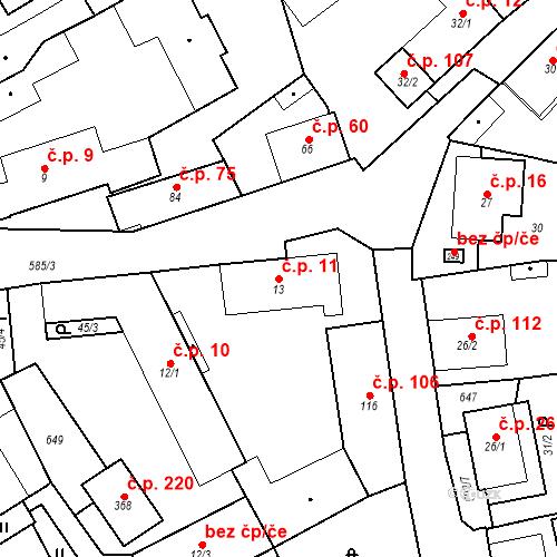 Katastrální mapa Stavební objekt Srbsko 11, Srbsko