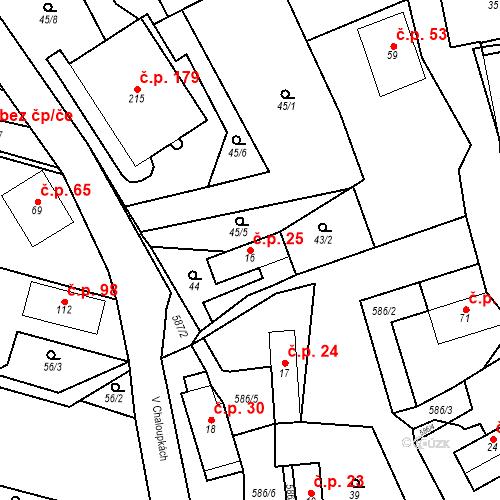 Katastrální mapa Stavební objekt Srbsko 25, Srbsko