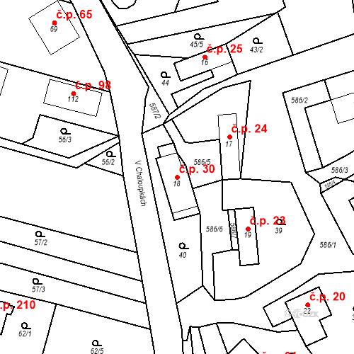 Katastrální mapa Stavební objekt Srbsko 30, Srbsko