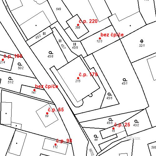 Katastrální mapa Stavební objekt Srbsko 179, Srbsko