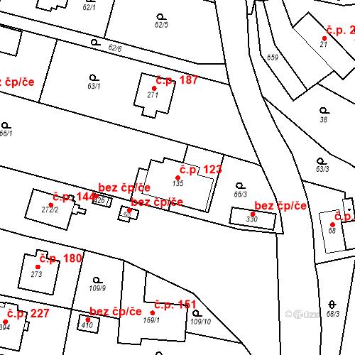 Katastrální mapa Stavební objekt Srbsko 123, Srbsko