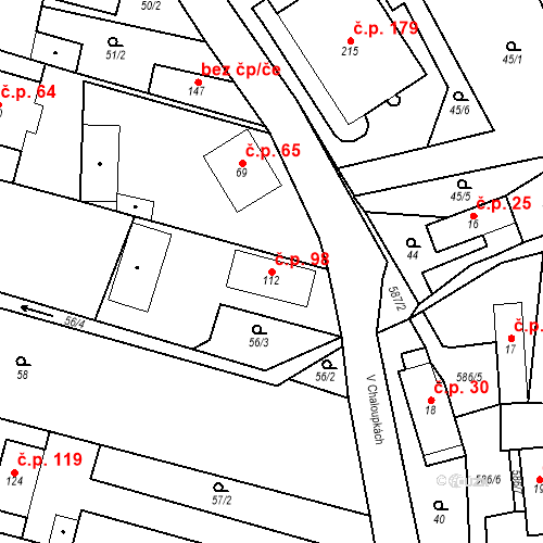 Katastrální mapa Stavební objekt Srbsko 98, Srbsko