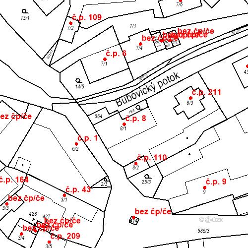 Katastrální mapa Stavební objekt Srbsko 8, Srbsko