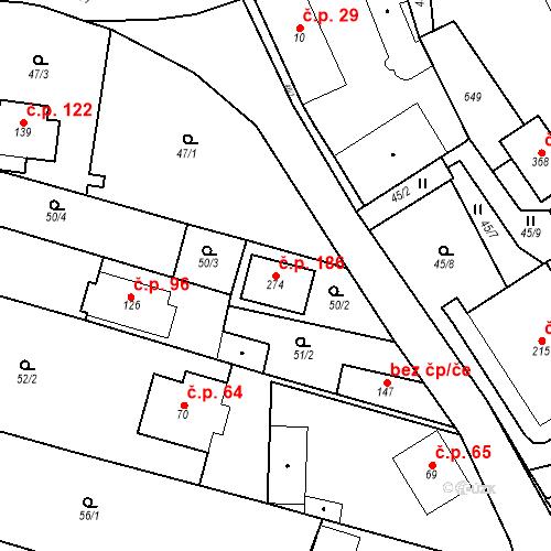 Katastrální mapa Stavební objekt Srbsko 186, Srbsko