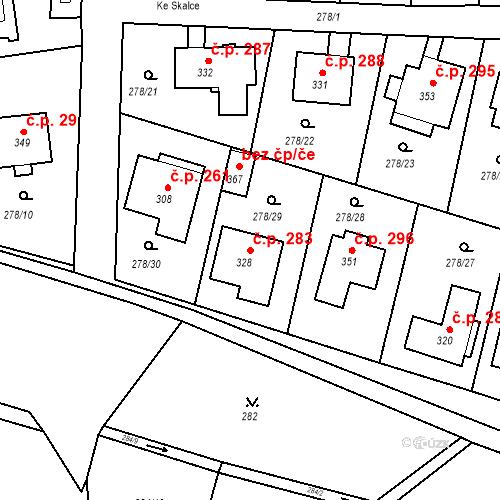 Katastrální mapa Stavební objekt Braškov 283, Braškov