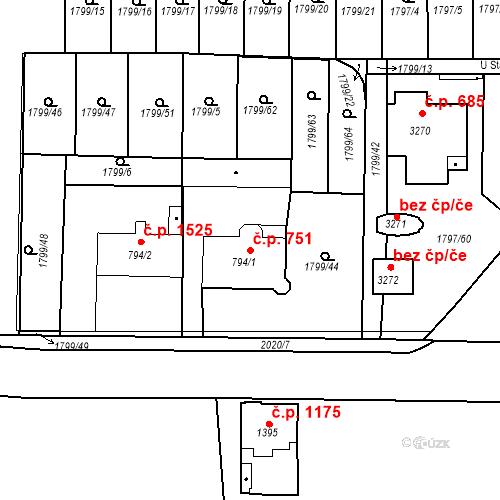 Katastrální mapa Stavební objekt Slaný 751, Slaný