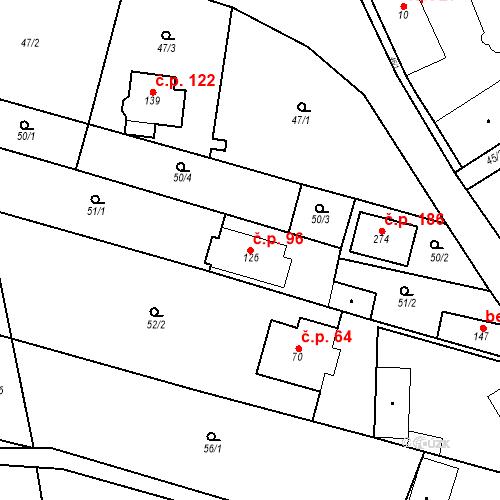 Katastrální mapa Stavební objekt Srbsko 96, Srbsko