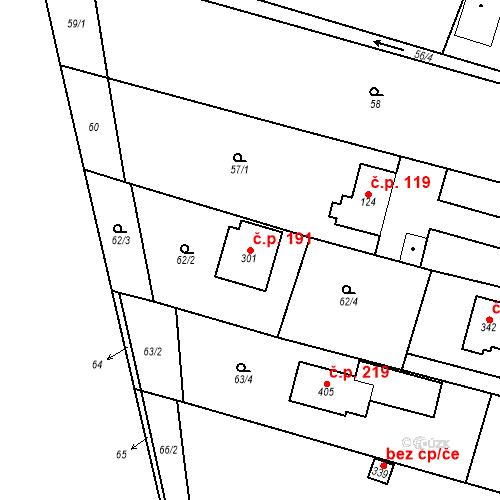 Katastrální mapa Stavební objekt Srbsko 191, Srbsko