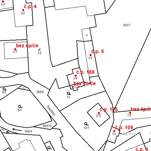 Katastrální mapa Stavební objekt Srbsko 188, Srbsko