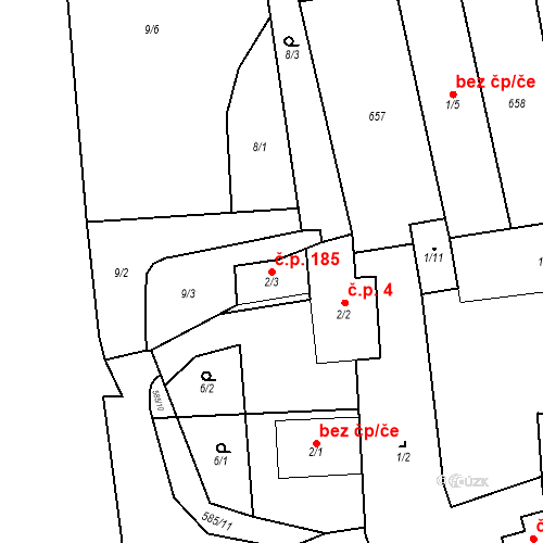 Katastrální mapa Stavební objekt Srbsko 185, Srbsko