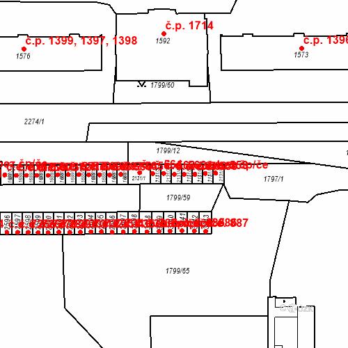 Katastrální mapa Stavební objekt Slaný 561, Slaný
