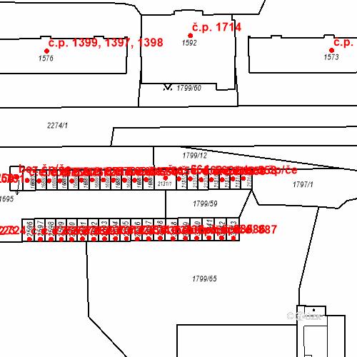 Katastrální mapa Stavební objekt Slaný 563, Slaný