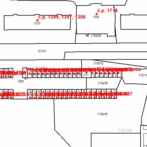 Katastrální mapa Stavební objekt Slaný 566, Slaný