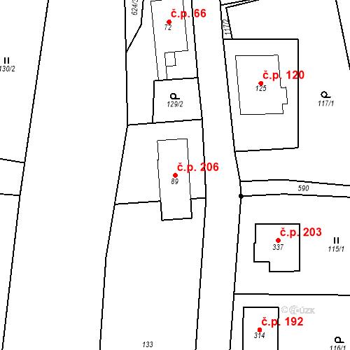 Katastrální mapa Stavební objekt Srbsko 206, Srbsko