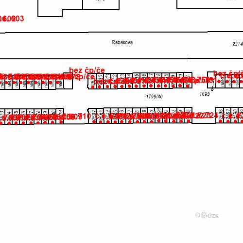 Katastrální mapa Stavební objekt Slaný 715, Slaný