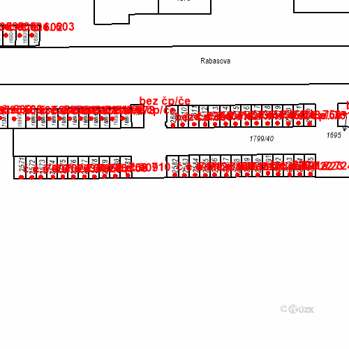 Katastrální mapa Stavební objekt Slaný 711, Slaný