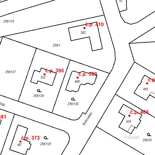 Katastrální mapa Stavební objekt Braškov 382, Braškov