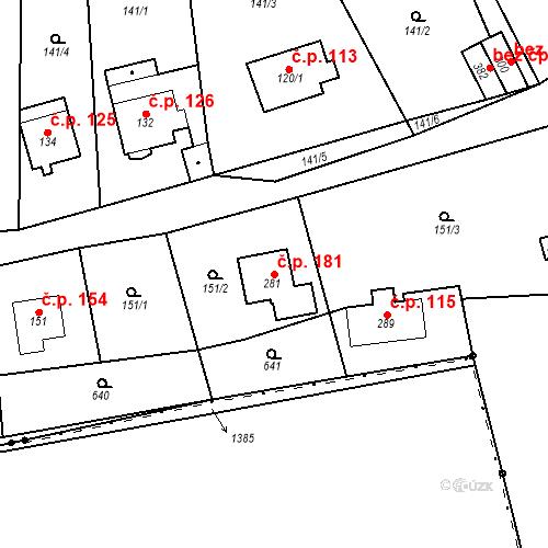 Katastrální mapa Stavební objekt Srbsko 181, Srbsko