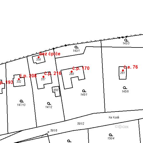 Katastrální mapa Stavební objekt Srbsko 170, Srbsko