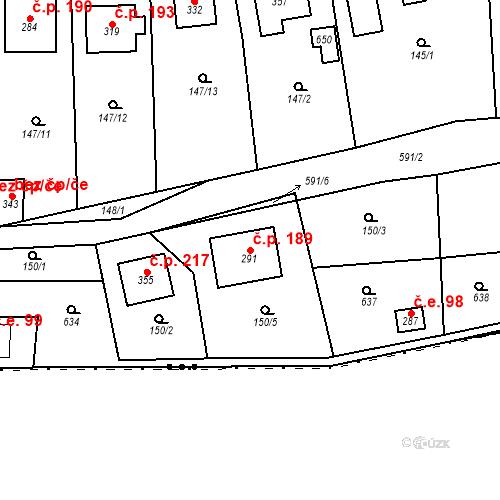 Katastrální mapa Stavební objekt Srbsko 189, Srbsko