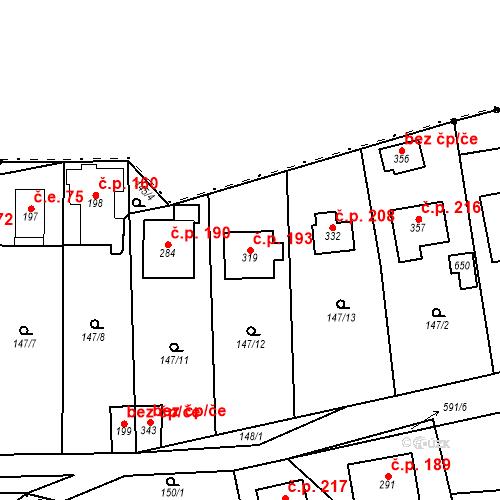 Katastrální mapa Stavební objekt Srbsko 193, Srbsko