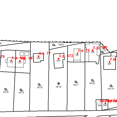 Katastrální mapa Stavební objekt Srbsko 172, Srbsko