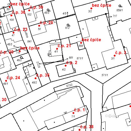 Katastrální mapa Stavební objekt Kvíc 2, Slaný