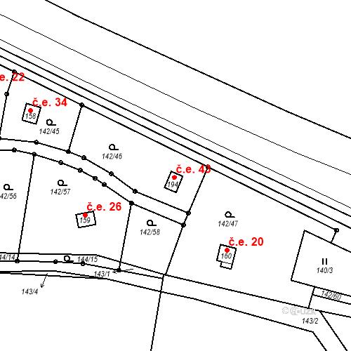 Katastrální mapa Stavební objekt Studeněves 43, Studeněves