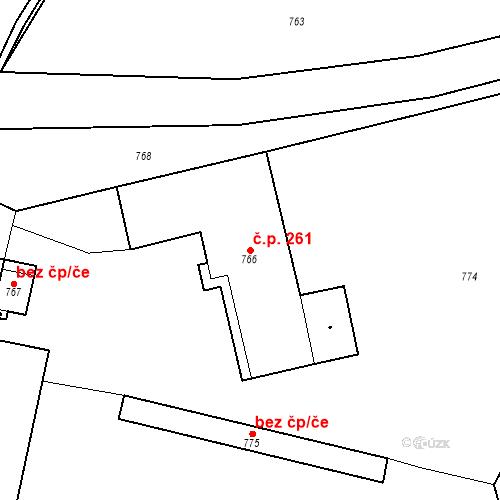 Katastrální mapa Stavební objekt Chlumec 261, Chlumec