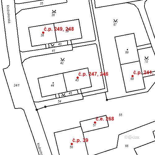 Katastrální mapa Stavební objekt Chlumec 246, 247, Chlumec