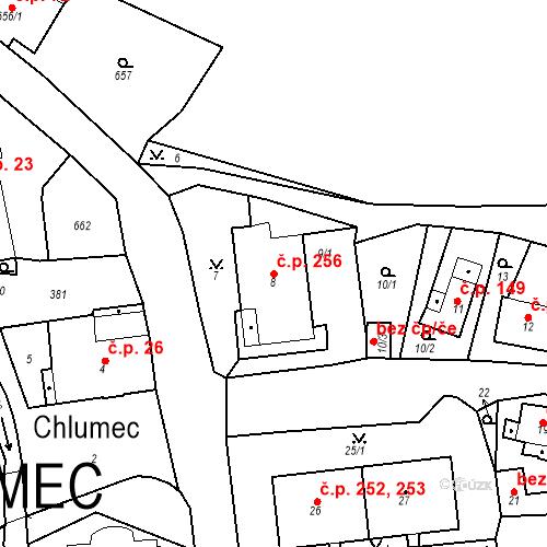 Katastrální mapa Stavební objekt Chlumec 256, Chlumec