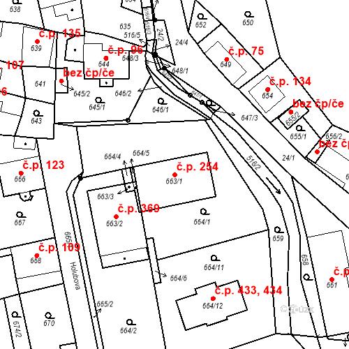 Katastrální mapa Stavební objekt Chlumec 254, Chlumec