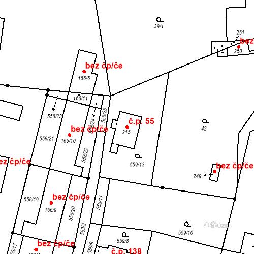 Katastrální mapa Stavební objekt Velemín 55, Velemín