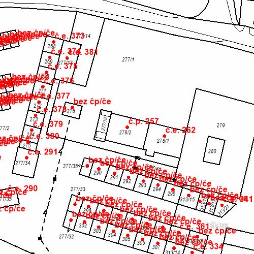 Katastrální mapa Stavební objekt Chlumec 257, Chlumec