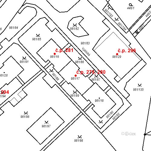 Katastrální mapa Stavební objekt Chlumec 279, 280, Chlumec