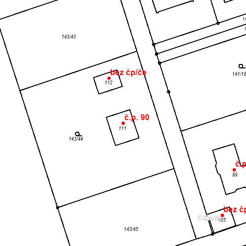 Katastrální mapa Stavební objekt Podbrdy 90, Podbrdy