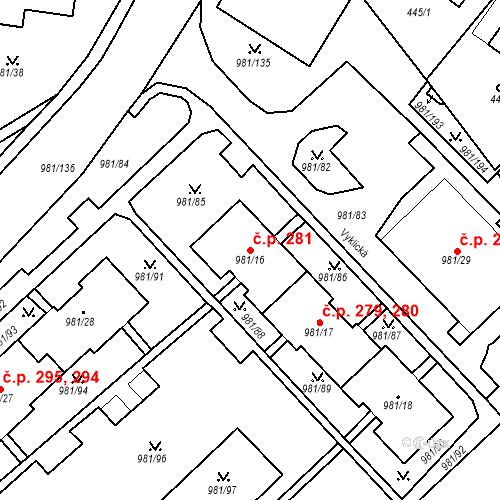 Katastrální mapa Stavební objekt Chlumec 281, Chlumec