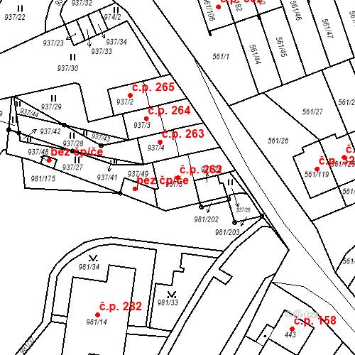 Katastrální mapa Stavební objekt Chlumec 262, Chlumec